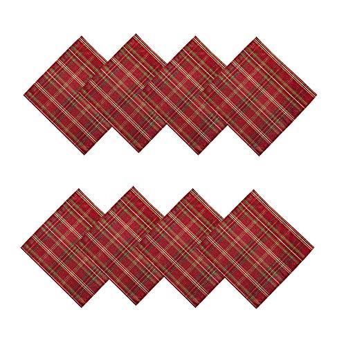 Newbridge - Mantel metálico de tela navideña con purpurina (juego de 8 servilletas)