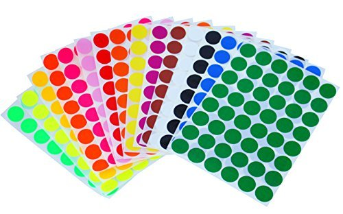 Royal Green Kids Colored Round Dots Sticker 5/8 inch (0.69) 17mm - 15 Colors - 16 Sheets - Art, Crafts, Fun and Games - 768 Pack