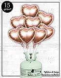 Bombona de Helio Mr.Helio+15 Globos Foil corazón Rose Gold