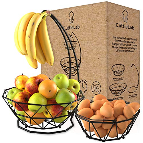 Fruit Basket with Banana Hanger and Fruit Bowl (Black,2 -tier). Fruit Bowl for Kitchen Counter with Banana Holder used as Bread Basket, Vegetable Basket, Produce Basket, Fruit Stand or Egg Holder