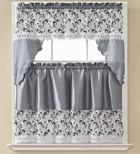 B&H Home Madison Floral Embroidered 3-Piece Kitchen Curtain Window Treatment Set (Madison Sliver)