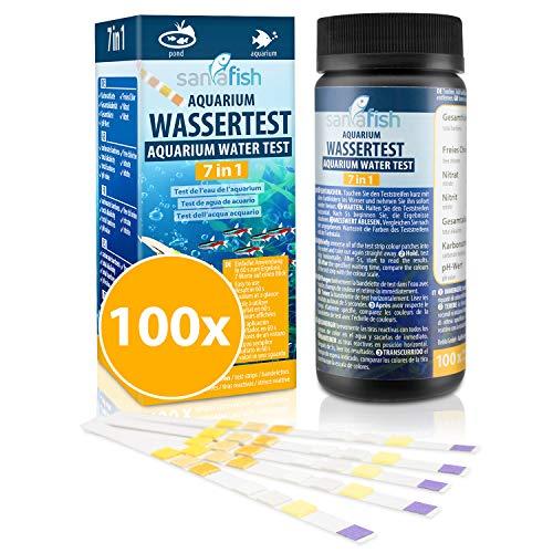 sanafish Wassertest Aquarium 7-in-1 – 100 Teststreifen – Wassertester fürs Aquarium auf GH, KH, pH, NO3, NO2, freies Cl, Gesamtalkalinität – in praktischer Dose.