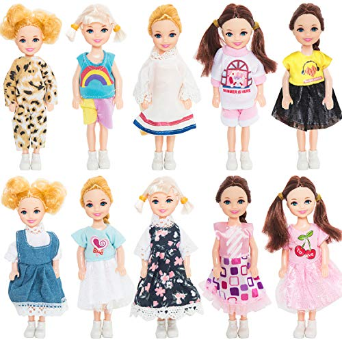 ONEST 10 Sets 5 Inch Dolls Girl Dolls Include 10 Pieces Girl Mini Dolls, 10 Sets Handmade Doll Clothes, 10 Pairs of Doll Shoes
