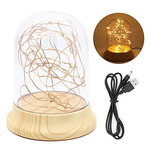 Glazen koepellamp, stolpdecoratie Nachtlampje Wonden Base Dome Cloche Nachtkastlamp met LED Fairy Starry lichtslingers - Aangedreven door 3xAAA batterij of USB-kabel