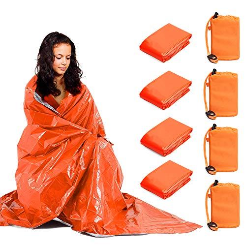 TOBWOLF Notfalldecken, leicht, Thermo-Mylar-Folie, mit 1 Pfeife, Winddichte Rettungsdecken, Outdoor-Survival-Ausrüstung für Wandern, Reisen, Camping, Orange, 4 Stück