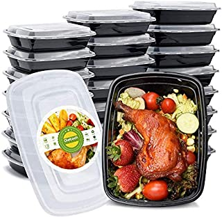 Glotoch 50 Pack 32 oz Single Compartment Plastic Food Storage Containers Set with Lids - Microwave, Freezer & Dishwasher S...