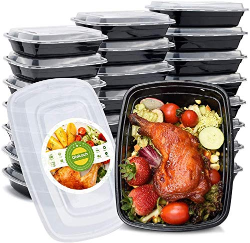 Glotoch Meal Prep Containers 50Packs 32oz Containers Single 1 Compartment with Lids Food Storage Containers Bento Box Microwave,Freezer,Dishwasher Safe Lunch Containers