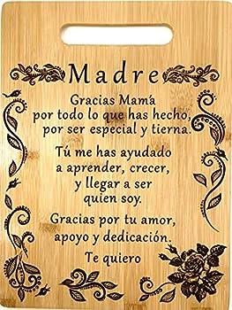 Gift for mom Spanish-Regalo para el poema de mamá-Tabla de cortar de bambú grabada única-Madre poema  22x30cm