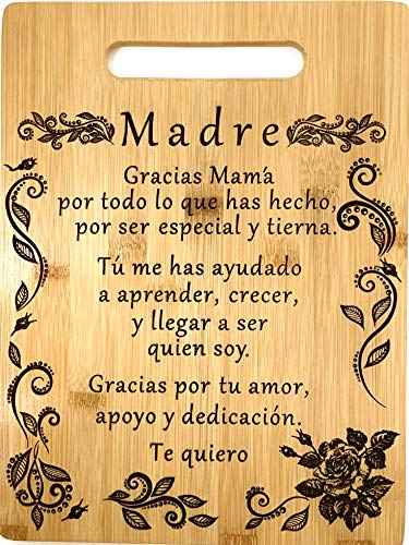 Gift for mom Spanish-Regalo para el poema de mamá-Tabla de cortar de bambú grabada única