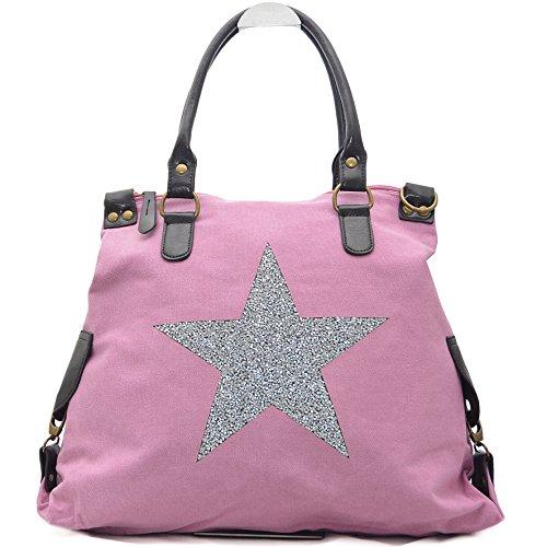 Vain Secrets Sternen Shopper Damen Handtasche mit Schulterriemen (Pink Strass)