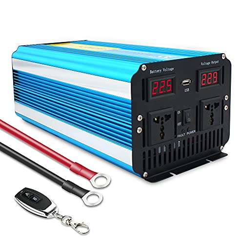 Cantonape Pure Sine Wave Power Inverter 3000W/6000W Peak Converter DC 24V to 230V 240V AC with LED...