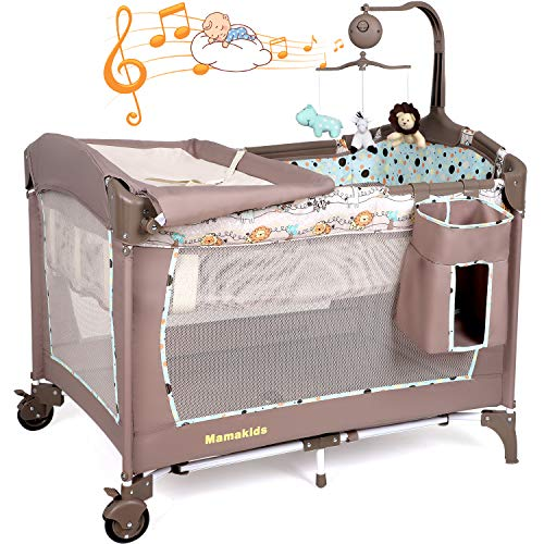 Hello-5ive Toddler Bed, Folded Baby Crib with Waterproof Mattress, Breathable Mesh, Changing Table, Music&Toys, Bed Net, Storage Bag, Brake Wheel, Travel Bag, Bassinet Bed for Boys&Girls (Brown)