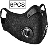 YAP Anti-Pollution Sport Housse de Protection Anti PM2,5 moitié Visage Couverture Charbon Actif Filtres à air respirateurs réutilisables à air Lavable Doux Filtre réglable Sangle et Clip Nez