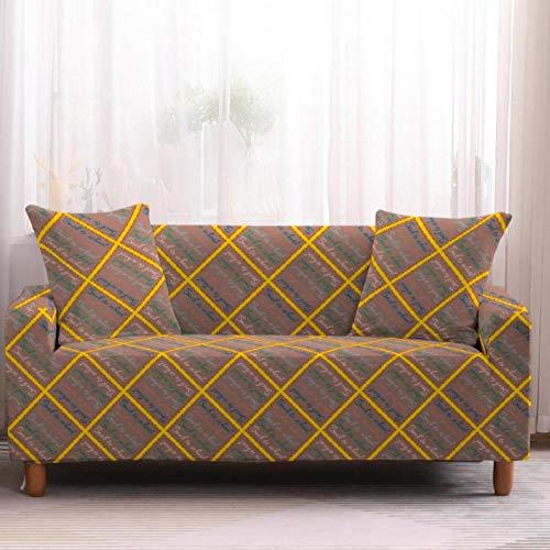 Funda de sofá de 3 Plazas Funda Elástica para Sofá Poliéster Suave Sofá Funda sofá Antideslizante Protector Cubierta de Muebles Elástica Patrón de Cuadros Amarillos Funda de sofá