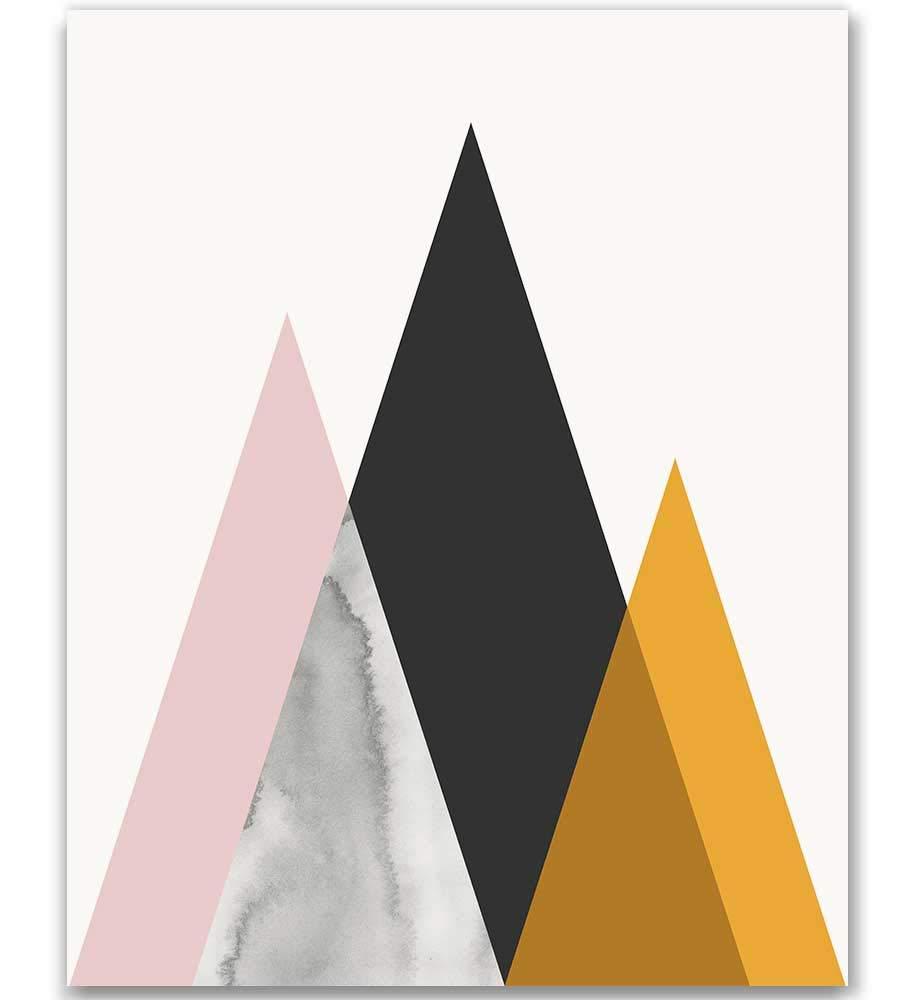 MotivatedWallArt Mid Century Modern Art Print Midcentury Minimalist Modern  Mountain Geometric Print Black Gold Textures Poster Contemporary Wall Art  ...