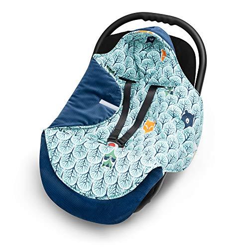 EliMeli EINSCHLAGDECKE für Babyschale - Baby Decke für Autositz und Kinderwagen mit Füllung, universal Fußsäcke z.B. Maxi Cosi, Kinderwagendecke neue Velvet Kollektion (Marineblau/Teddybären)