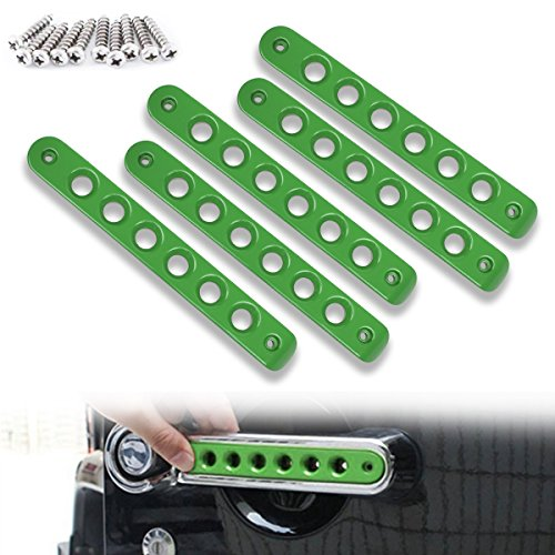 Opall Front Door & Back Door Aluminum Grab Handle Cover For 2007-2018 Jeep Wrangler JK & Unlimited 4 Door 5pcs/set (Green)