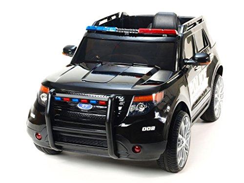 schwarz Polizei Kinderauto Kinderelektroauto Kinderelektrofahrzeug Kinder elektroauto 12V Polizei Policie mit Türen und RC