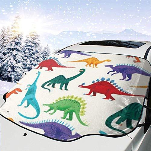 GOSMAO Parabrisas del Coche Cubierta de Nieve Dinosaurio Parasol Cubierta del Parabrisas Protector Solar UV Cubierta Antipolvo Frost Nieve Cubierta de Hielo en Todo Clima 147x118cm