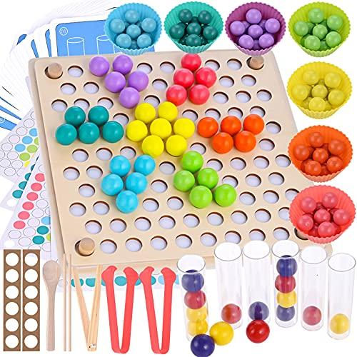 Fabu 136 Pcs Juego de Cuentas de Madera, Juguete Educativo Montessori, Creativo Juguete Educativo para Niños y Padres, Montessori Juego de Combinación de Colores