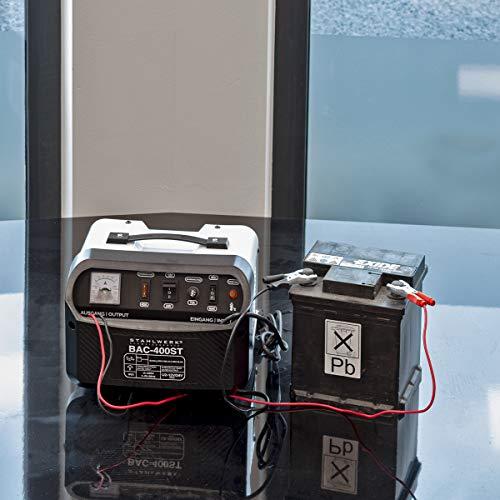 STAHLWERK - Cargador de batería para Coche BAC-400 ST, 12/24 V, hasta 400 Ah de Capacidad de batería, hasta 50 A de Corriente de Carga, Booster, 7 años de garantía