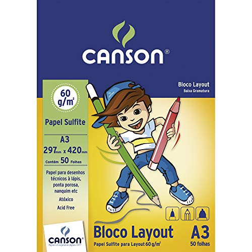 Bloco A3 60g/m², Canson, 66667075, Layout, 50 Folhas