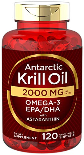 Antarctic Krill Oil 2000 mg 120 Softgels | Omega-3 EPA, DHA, with Astaxanthin Supplement Sourced...