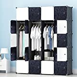 PREMAG Armoire Portable DIY, Penderie Portes, Tige Suspendue, Construction Solide...