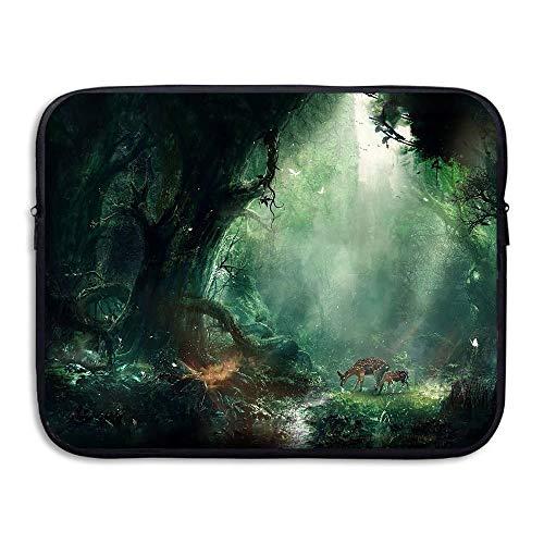 Laptop Sleeve Bag Deer in The Forest Images 15 Inch BriefSleeve Bags Cover Notebook Waterproof Portable Messenger Bags