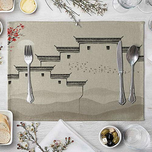 Daesar 2 Placemats For Dining Table, Cotton Linen Placemats for Dining Table Walls and Flocks Of Birds Khaki Dining Room Placemats Elegant 16x12 Inch