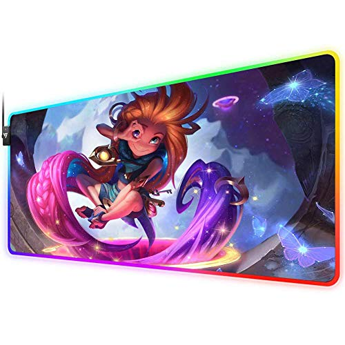 RGB Gaming Mouse Pad for Zoe, LED Soft Extra Extended Large Mouse Pad,Anti-Slip Rubber Base,Computer Keyboard Mouse Mat 31.5 X 12 Inch