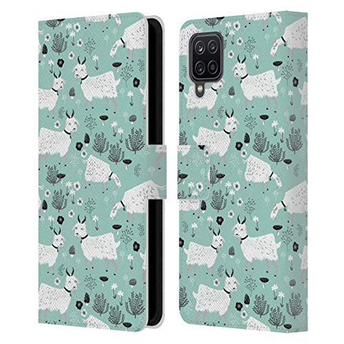 Head Case Designs Officially Licensed Andrea Lauren Design Goats Animals Leather Book Wallet Case Cover Compatible with Samsung Galaxy A12 (2020)