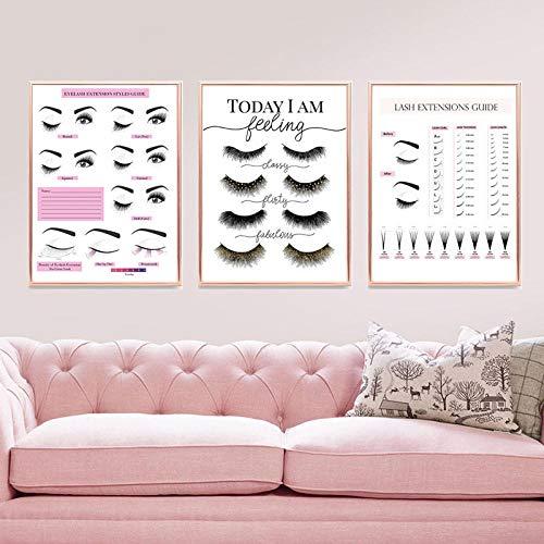 HMOTR Makeup Wall Art Wimpernverlängerung Style Guide Poster und Drucke Wimpern Techniker Business Form Leinwand Malerei Dekor Bild