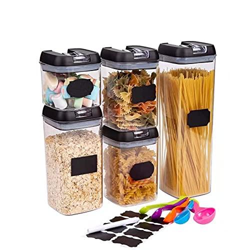 Purora Set Contenitori Alimenti Ermetici 5Pcs, Contenitori per Cereali, Barattoli in Plastica Trasparente con Serratura Coperchi, Senza BPA, Perfetto per Cereali Pasta 0.5LX1 /0.8LX2 /1.2LX1 / 1.9LX1