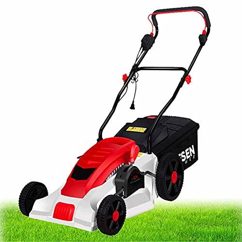 BKWJ Electric Corded Lawn Mower, 2000W Walk-Behind Lawnmower, Heavy Duty Brushless Dethatcher, 5-Gear Adjustable Height, Garden Lawn Sweeper,2000W+20M Wire