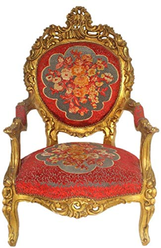 Casa Padrino Sillón de Trono Barroco Rojo Patrón Floral/Oro 70 x 70 x H. 120 cm - Suntuosa Silla Real Hecho a Mano - Silla de Boda - Muebles Barrocos
