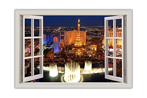 Iconic Las Vegas Photo 3D Window View Poster Print Wall Art Decoration Size A0 118.9cm x 84.1cm)