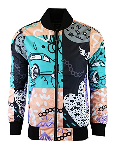 SCREENSHOT-S51050 Hip-Hop Urban Fashion Bomber Jacket - Outdoor Lightweight Streetwear Geometric Cartoon Graffiti Pattern Print Top-Purple/Geo-Medium