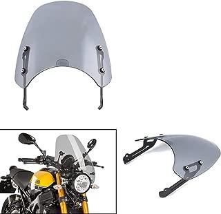 XX eCommerce Motorcycle Motorbike Touring Front Flyscreen Windscreen Windshield Shield Screen With Mounting Bracket For Ducati Scrambler 2015 2016 2017 2018 2019 (Light Smoke)