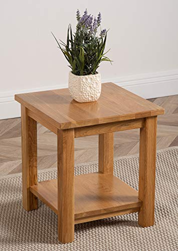 Oslo Solid Oak Lamp Table | Natural Oak Wood Occasional Table | Square 45 x 45 cm Minimal Low Living Room Table | Oslo By Oak Furniture King