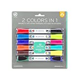 U Brands. Low Odor Magnetic Double Ended Dry Erase Markers with Erasers, Bullet Tip, Assorted Colors, 6-Count