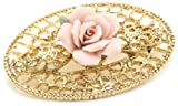 1928 Jewelry Pink Porcelain Rose Gold Filigree Brooch