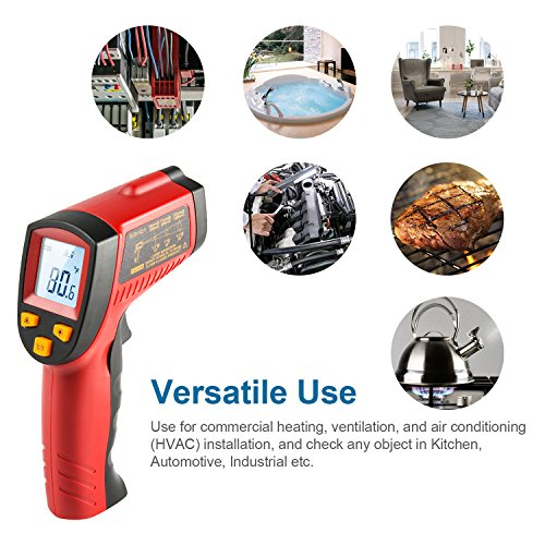 AstroAI Digital Laser Infrared Thermometer, 550 Non-contact Temperature Gun -58℉~1022℉ (-50℃~550℃) for Cooking Gadgets, Barbecuing, and Other Indoor Outdoor Activities Red