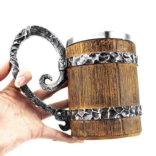 SUPERHUA Barril de imitación de Madera Tazas de Cerveza de Acero Inoxidable Estilo Vikingo Taza de Cerveza de Madera Jarra Vasos