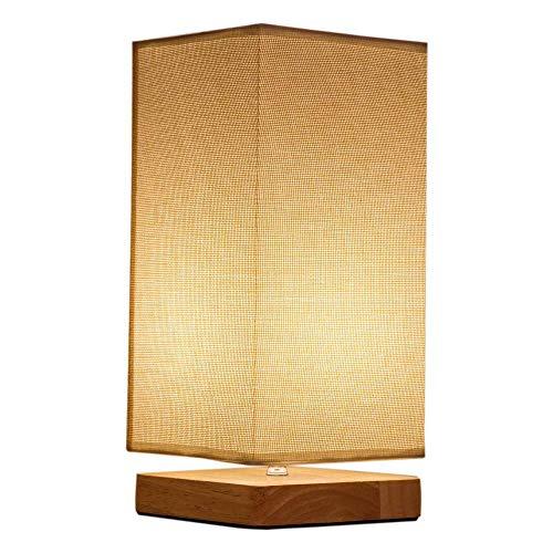 Lámpara de mesa Vintage, Lámpara de mesita de noche pequeña con pantalla de tela cuadrada hecha de madera lámpara de noche para dormitorio, sala de estar, habitación infantil
