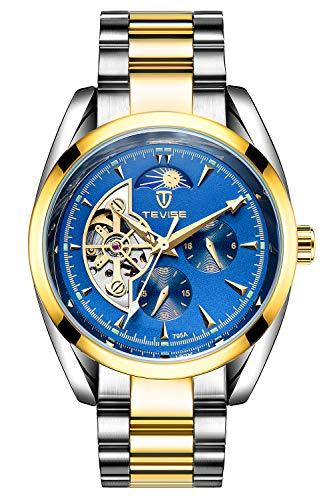 Gute, orologio meccanico automatico da uomo, orologio da polso da lavoro, colore: blu
