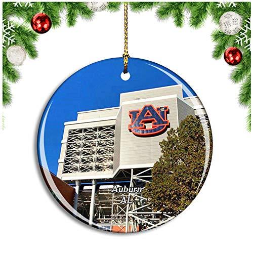 Weekino Auburn Stadium Alabama USA Christmas Ornament Xmas Tree Decoration Hanging Pendant Travel Souvenir Collection Double Sided Porcelain 2.85 Inch