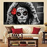 wZUN Impresión en HD Abstracta Calavera de azúcar niña un día de los Muertos Pintura al óleo sobre Lienzo Cuadro de Pared para decoración de Sala de Estar 50x100cm