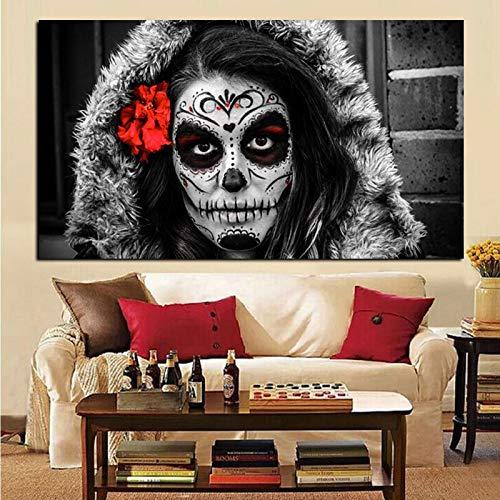 wZUN Pintura al óleo Abstracta del día de los Muertos del día de la Muchacha del cráneo del azúcar de la impresión HD en la Imagen de la Pared del Arte de la Lona 60x120 Sin Marco