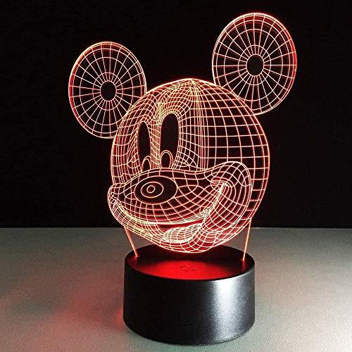 Patrón de dibujos animados Mickey 3D Illusion Lamp,3D LED Luz Nocturna para Niños, 7 Colores Cambian con Control Remoto, Regalos para Niños Niñas